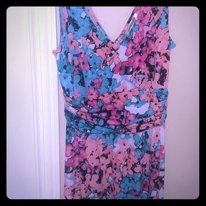 Multi Color Floral Maxi Dress Multi Occasion Vneck